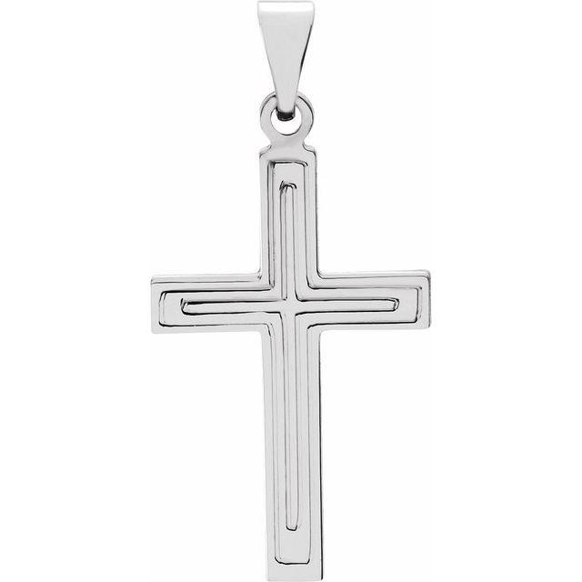 14K White 18x12 mm Cross Pendant