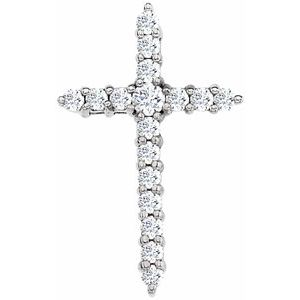 14K White Diamond Cross Pendant