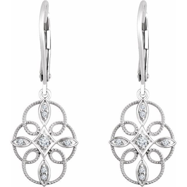 14K White 1/10 CTW Diamond Granulated Filigree Earrings