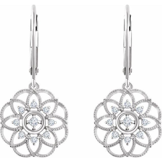 14K White 1/5 CTW Diamond Granulated Filigree Earrings