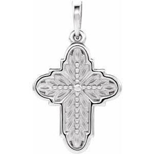 Sterling Silver 19x13.7 mm Ornate Leaf Cross Pendant