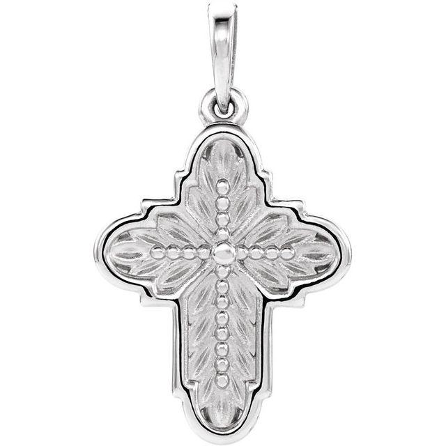 Sterling Silver 19x13.7 mm Ornate Leaf Cross Pendant