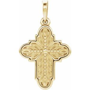14K Yellow 19x13.7 mm Ornate Leaf Cross Pendant