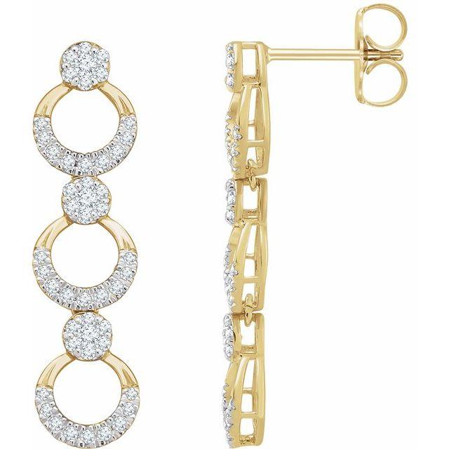 14K Yellow 1/2 CTW Diamond Geometric Dangle Earrings