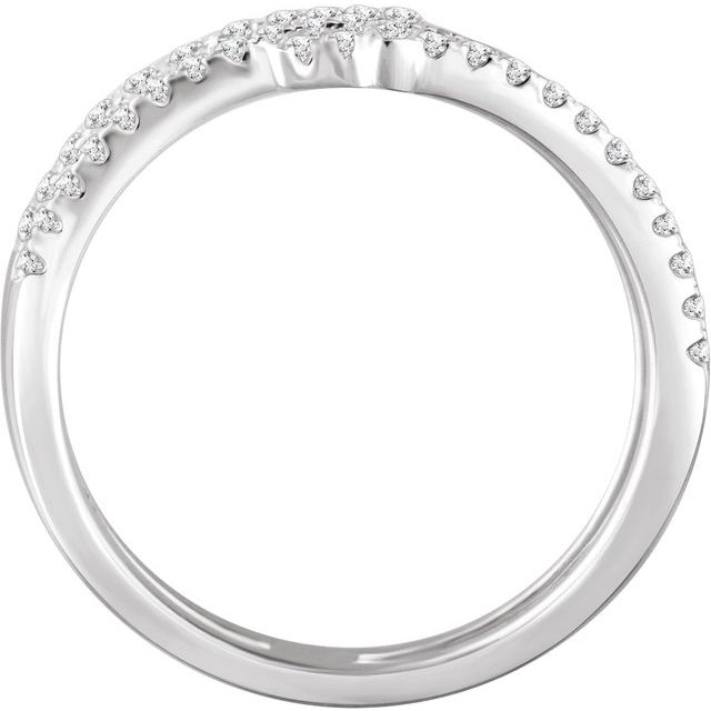 14K White 3/8 CTW Diamond Sideways Cross Ring
