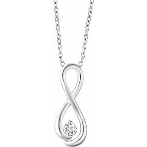 "14K White 1/6 CTW Diamond Infinity-Inspired 16-18"" Necklace"