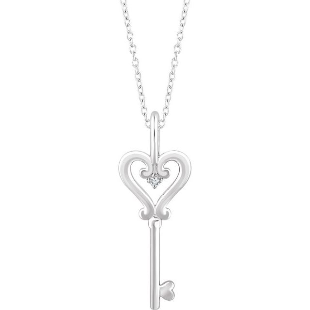 Sterling Silver .006 CT Diamond Key 16-18