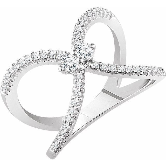 14K White 3/8 CTW Diamond Negative Space Ring