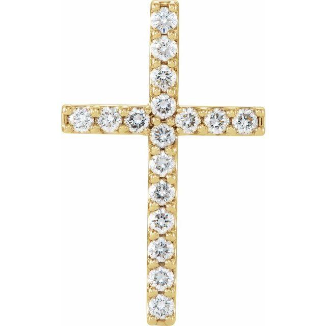 14K Yellow 1/2 CTW Petite Diamond Cross Pendant