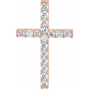 14K Rose 5/8 CTW Diamond Cross Pendant