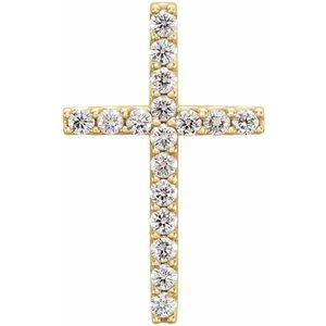 14K Yellow 1/4 CTW Petite Diamond Cross Pendant