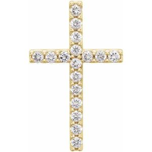 14K Yellow 1/3 CTW Petite Diamond Cross Pendant