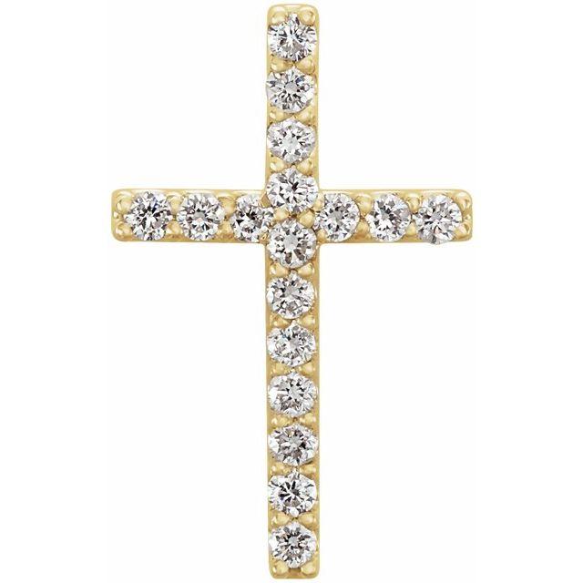 14K Yellow 1/6 CTW Petite Diamond Cross Pendant
