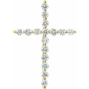 14K Yellow 1 1/4 CTW Diamond Cross Pendant