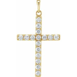 14K Yellow 1/4 CTW Diamond Cross Pendant