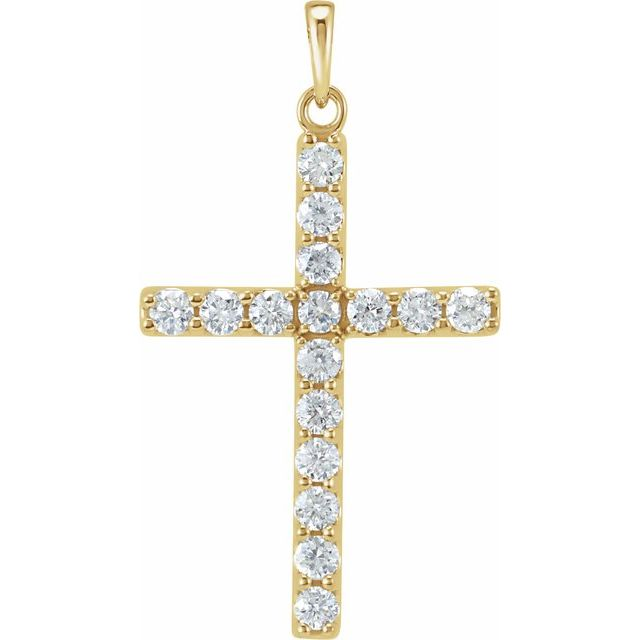 14K Yellow 1/3 CTW Diamond Cross Pendant
