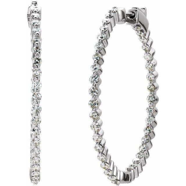 14K White 2 CTW Diamond Inside-Outside Hinged 36.9 mm Hoop Earrings