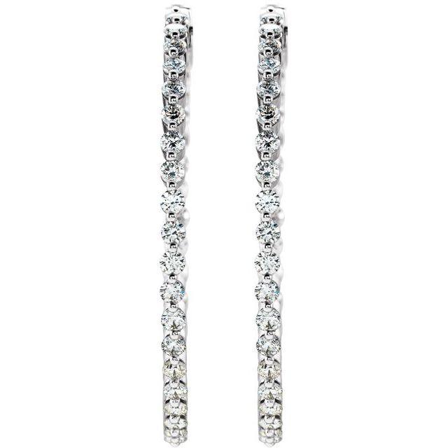 14K White 3 CTW Diamond Inside-Outside Hinged 41.9 mm Hoop Earrings