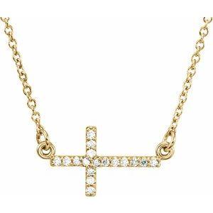 """14K Yellow .07 CTW Diamond Sideways Cross 16-18"""" Necklace"""