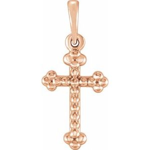 14K Rose Beaded Cross Pendant