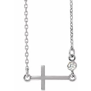 "Sterling Silver .03 CTW Diamond Sideways Cross 16-18"" Necklace"