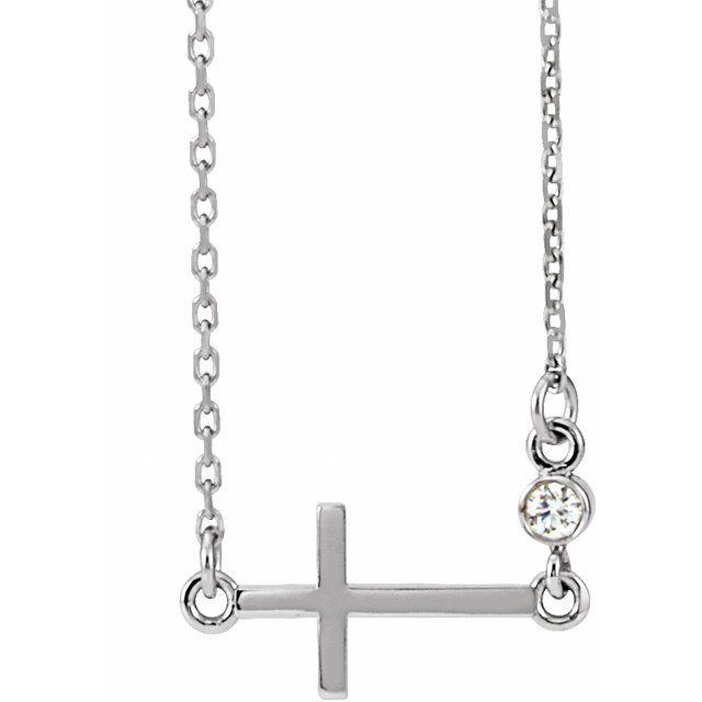 Platinum .03 CTW Diamond Sideways Cross 16-18