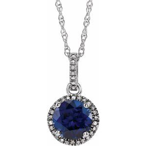 """Sterling Silver Lab-Grown Blue Sapphire & .01 CTW Diamond 18"""" Necklace"""