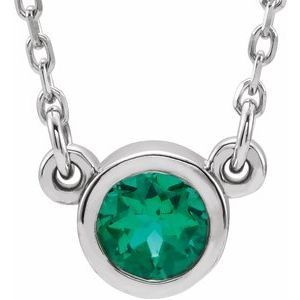"Rhodium-Plated Sterling Silver 4 mm Round Chatham® Lab-Created Emerald Solitaire 16"" Necklace"