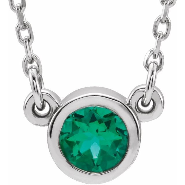 Rhodium-Plated Sterling Silver 4 mm Round Imitation Emerald Solitaire 16
