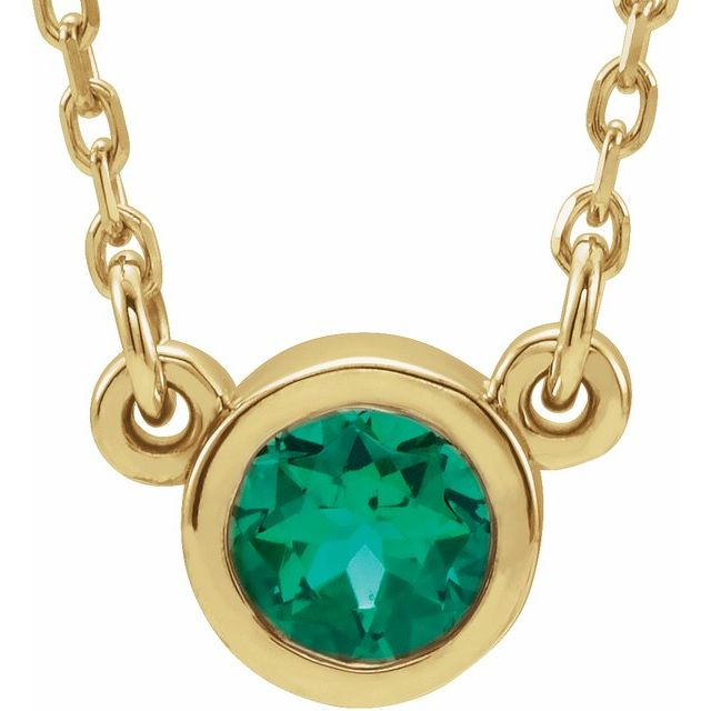 14K Yellow 4 mm Round Lab-Grown Emerald Solitaire 16