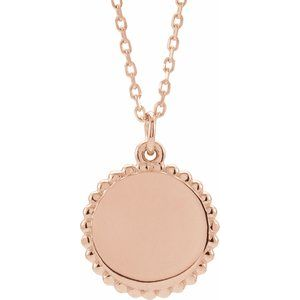 "14K Rose Engravable Beaded Disc 16-18"" Necklace"