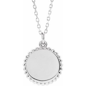 "14K White Engravable Beaded Disc 16-18"" Necklace"