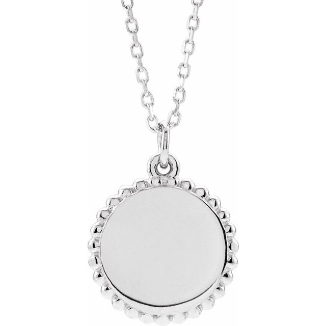 Sterling Silver Beaded Disc 16-18