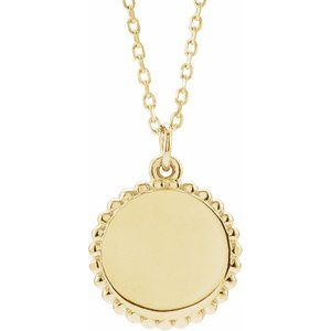 "18K Yellow Gold-Plated Sterling Silver Engravable Beaded Disc 16-18"" Necklace"