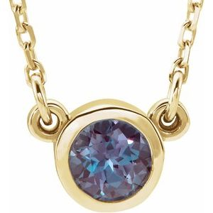 "14K Yellow 3 mm Round Lab-Grown Alexandrite Bezel-Set Solitaire 16"" Necklace"