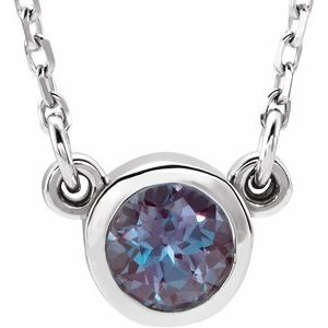 "Rhodium-Plated Sterling Silver 3 mm Round Lab-Grown Alexandrite Bezel-Set Solitaire 16"" Necklace"