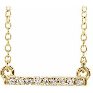 "14K Yellow .07 CTW Petite Diamond Bar 16-18"" Necklace"