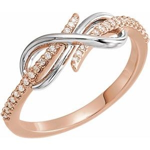 14K Rose/White 1/10 CTW Diamond Infinity-Inspired Ring