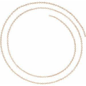 18K Rose 1.5 mm Solid Cable Chain Per Inch