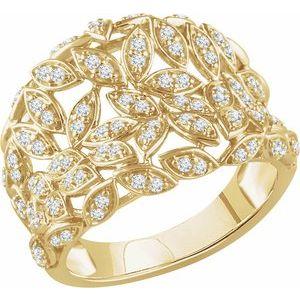 14K Yellow 1/2 CTW Diamond Leaf Ring