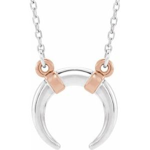 "14K White/Rose Crescent 18"" Necklace"