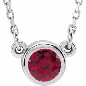 """Rhodium-Plated Sterling Silver 4 mm Round Imitation Ruby Solitaire 16"""" Necklace"""