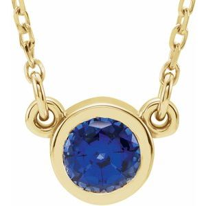 "14K Yellow 4 mm Round Blue Sapphire Bezel-Set Solitaire 16"" Necklace"