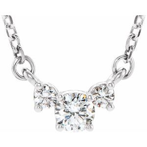 "14K White 1/3 CTW Diamond Three-Stone 16-18"" Necklace"