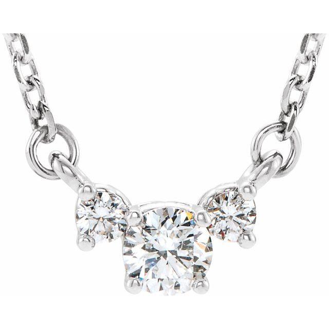 14K White 1/3 CTW Diamond Three-Stone 16-18