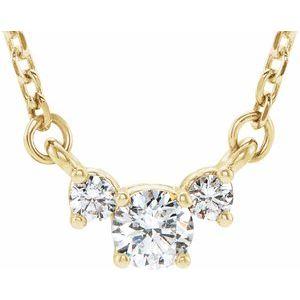 "14K Yellow 1/3 CTW Diamond Three-Stone 16-18"" Necklace"