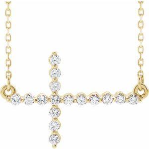 """14K Yellow 1/4 CTW Diamond Sideways Cross 16-18"""" Necklace"""