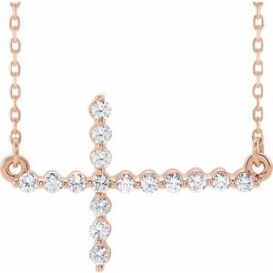 "14K Rose 1/4 CTW Diamond Sideways Cross 16-18"" Necklace"
