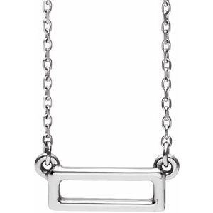"""Sterling Silver Rectangle Bar 16-18"""" Necklace"""
