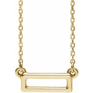 "14K Yellow Rectangle Bar 16-18"" Necklace"